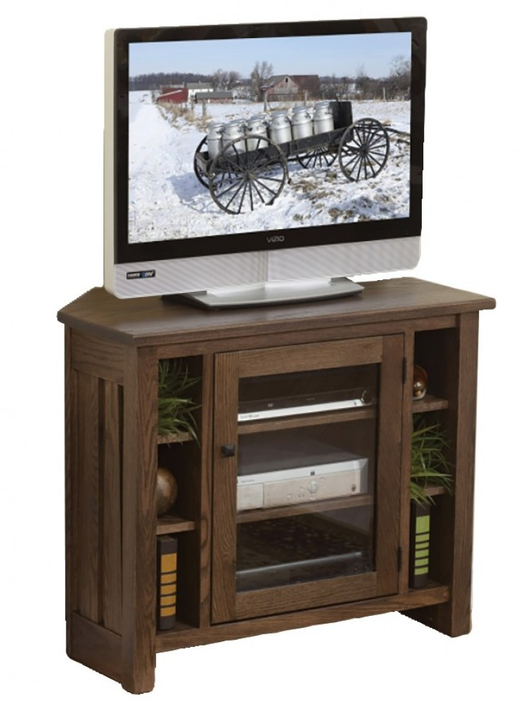 Canted Mission Corner Plasma TV Stand