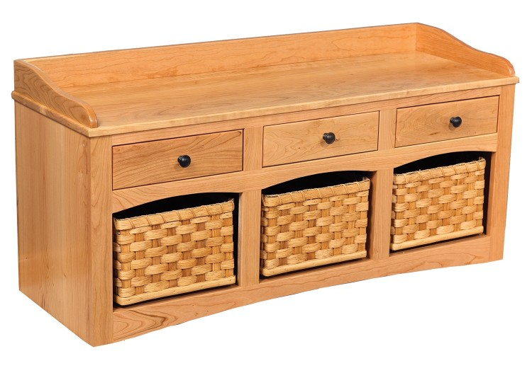 Shoe Bench w/Baskets & Drawers