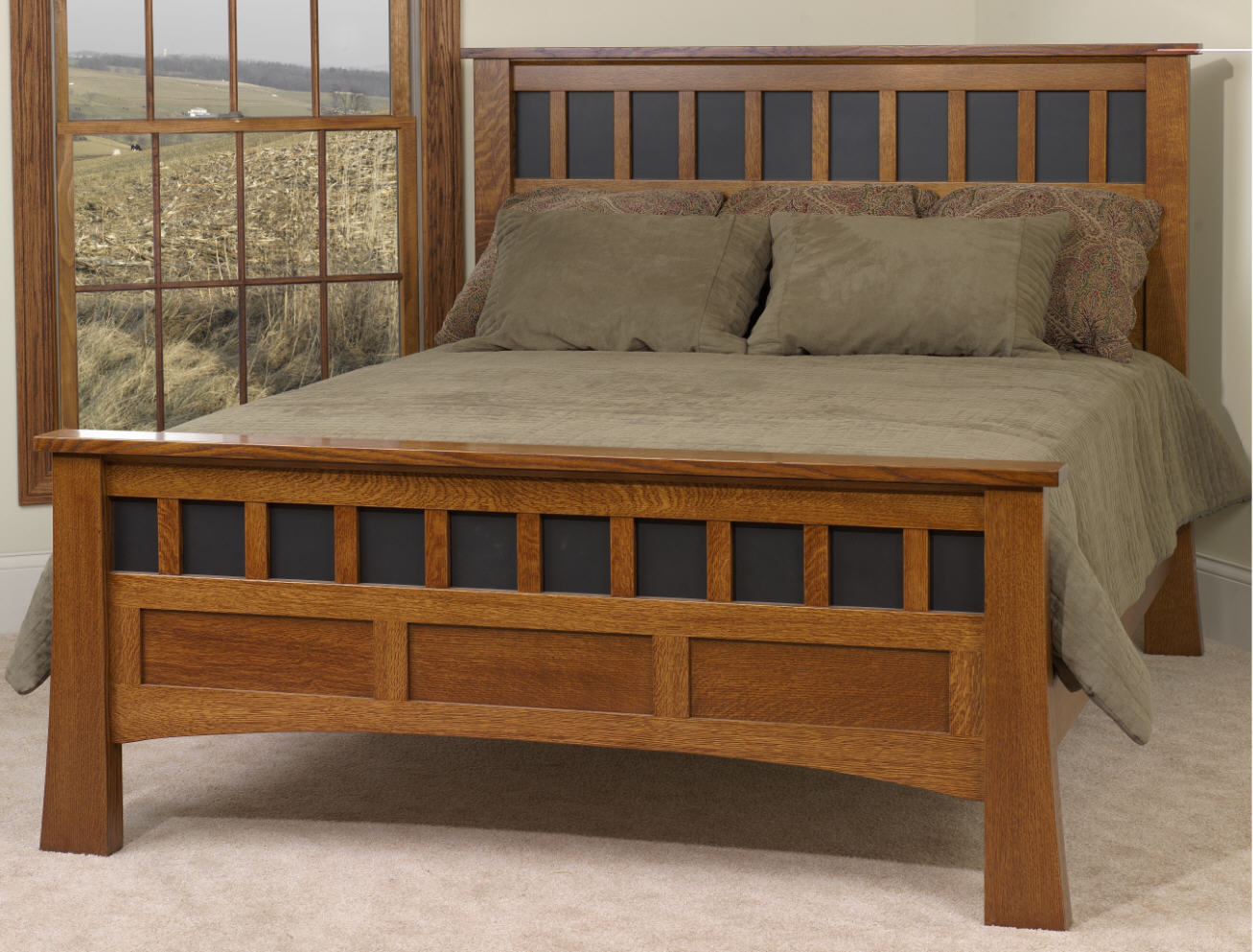 Bridgeport antique mission bed 550 mb2712 65 bedroom for Stone barn furnishings