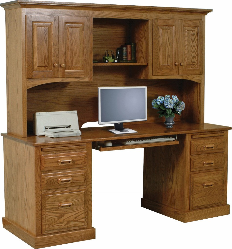 Traditional Double Pedestal Computer Desk