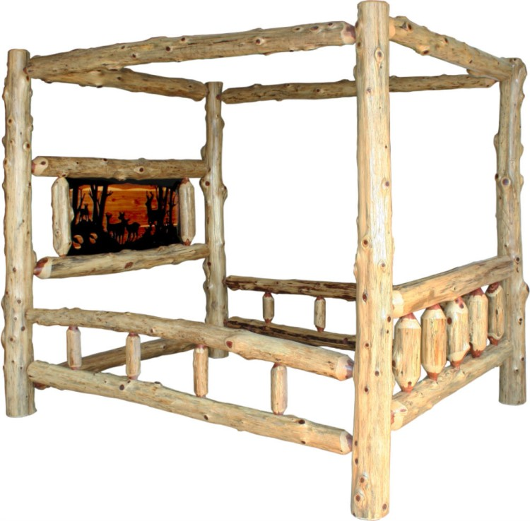 Red cedar canopy bed 550 10003 021kb 96 bedroom for Stone barn furnishings