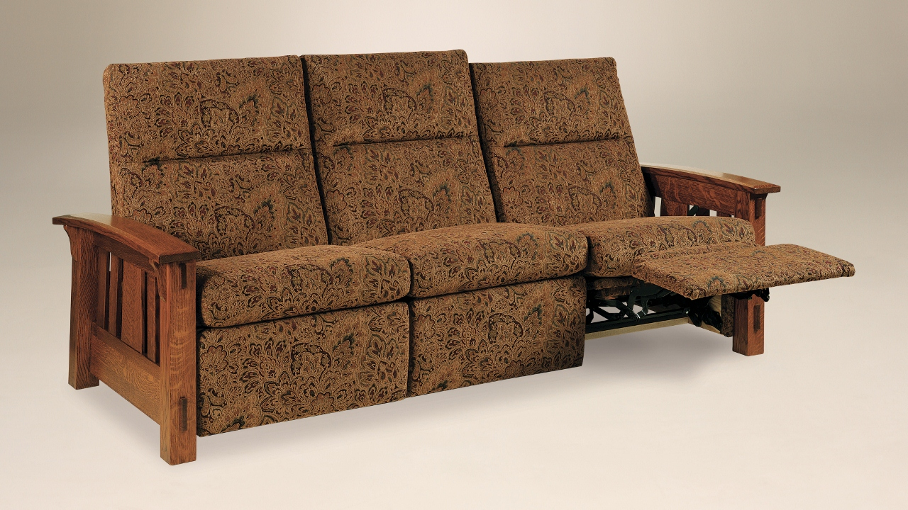 Mccoy sofa recliner 226 935msr 117 upholstered mission for Stone barn furnishings
