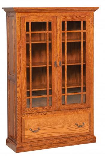 Raised Panel Bookcase w/Doors & Drawer