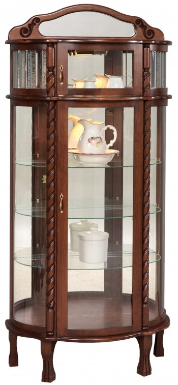 Bonnet Top Curio with Leaded Glass