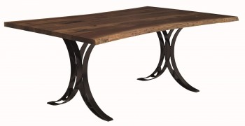 Dining Table with Double Curved Steel Base