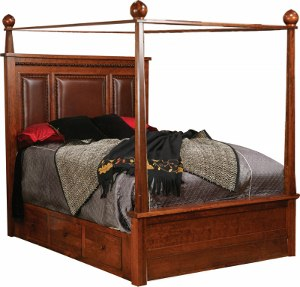Marrakesh Canopy Bed w/Leather & Storage Rails
