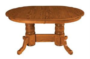 Traditional Scallop Double Pedestal Table
