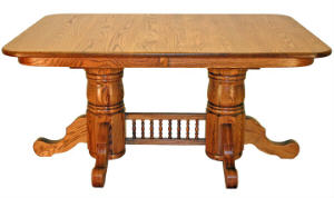 Square Oval Double Pedestal Table