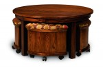 Round Table/Bench Set w/Storage  -  Cat No: 111-AJW5RDST-122  -  Click To Order  -  ID: 9882