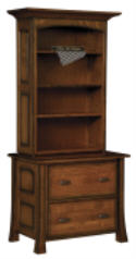 Olde Century Lateral File w/Bookcase  -  Cat No: 453-LA1442LBH(144LF)126  -  Click To Order  -  ID: 6644